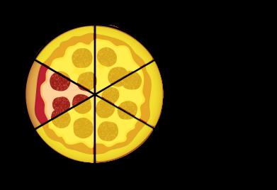 cinq sixièmes de pizza