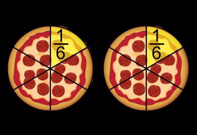 pizza deux unités partagées en sixièmes