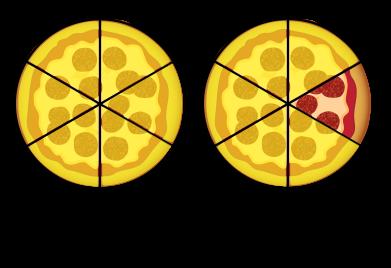 onze sixièmes de pizza