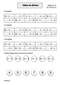 Exercices de maths : Division (ce2)