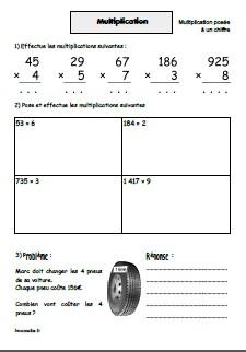 Multiplications posées par un nombre à 1 chiffre