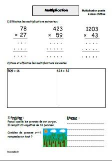 Multiplications posées par un nombre à 2 chiffres
