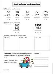 Soustractions posées de deux nombres décimaux