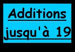 Additions de nombres jusqu'à 19