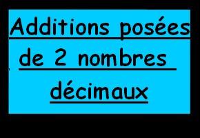 Additions posées de deux nombres décimaux