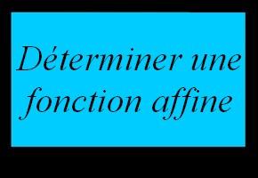 Déterminer l'expression algébrique d'une fonction affine