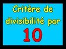Critère de divisibilité par 10