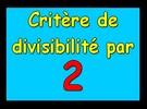 Critère de divisibilité par 2