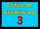 Critère de divisibilité par 3