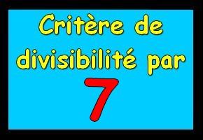 Critère de divisibilité par 7