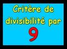Critère de divisibilité par 9