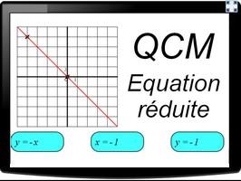 QCM équation réduite d'une droite