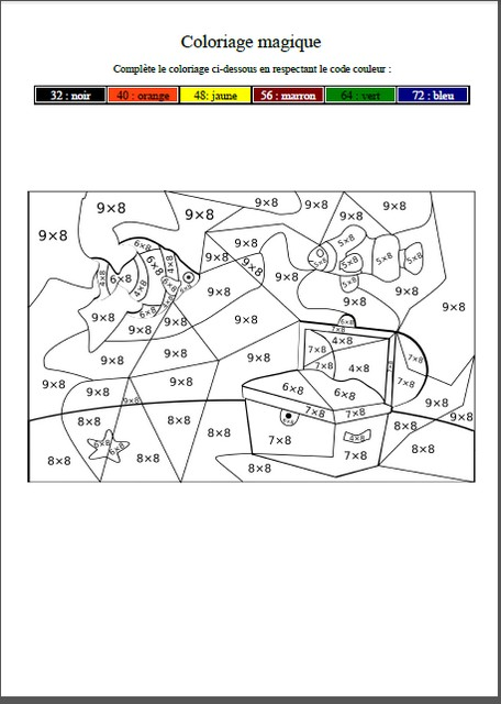 coloriage magique table du 8